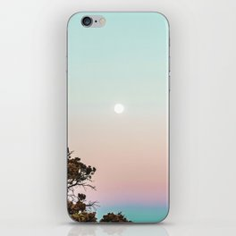 Rainbow Color Sunset // Incredible Clear Sky Photograph Through the Forest Trees iPhone Skin