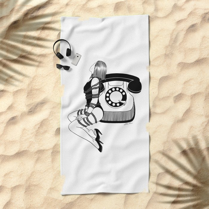 Waiting for your call Beach Towel
