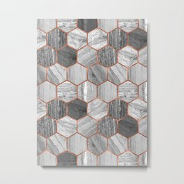 Marble Hexagons Metal Print