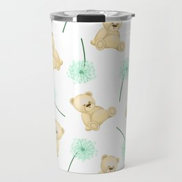 Pattern with cute bears and dandelions. Children's cards and textiles Travel Mug