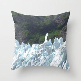 Alaskan Blue Snow Glacier By Summer Green Hills Throw Pillow