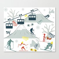 ski Canvas Prints featuring SKI LIFTS by BLUE VELVET DESIGNS