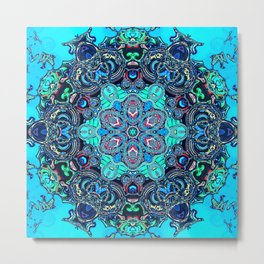 blue green purple turquoise mandala digital art Metal Print