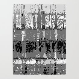 Tropical Abstract Trees in Steely Gray Poster