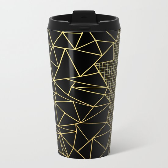 Abstract Outline Grid Gold Metal Travel Mug