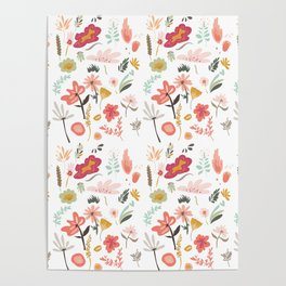 Hand painted pastel pink coral green floral illustration Poster