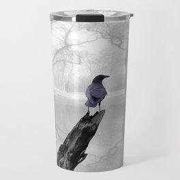 Crow On Misty Pond A114 Travel Mug