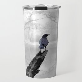 Crow On Misty Pond A114 Travel Mug