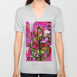Leaves painting - Abstract Unisex V-Neck