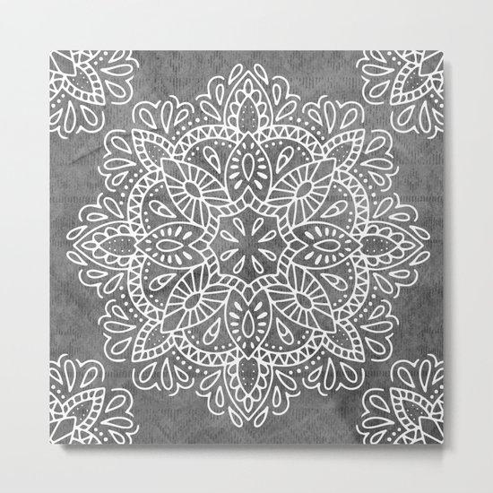 Mandala Vintage White on Ocean Fog Gray Metal Print