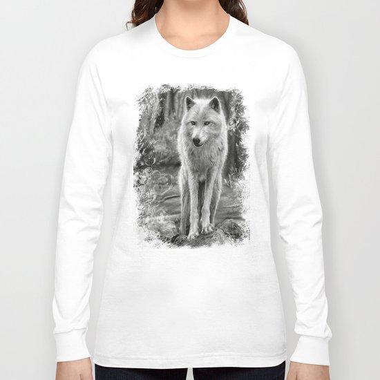 White Wolf in the Forest Long Sleeve T-shirt
