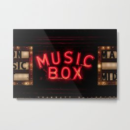 The Music Box Neon Sign Chicago Illinois Arthouse Theatre Vintage Cinema Movie House Theater Metal Print