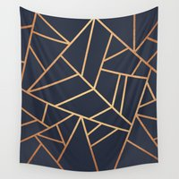copper Wall Tapestries featuring Copper and Midnight Navy by Elisabeth Fredriksson