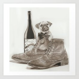 PUG IN BOOTS Art Print
