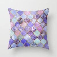 decorative Throw Pillows featuring Royal Purple, Mauve & Indigo Decorative Moroccan Tile Pattern by micklyn