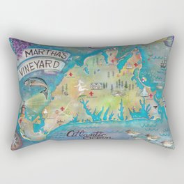 Martha's Vineyard Insiders Map Rectangular Pillow