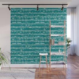 Sheet Music // Teal Wall Mural