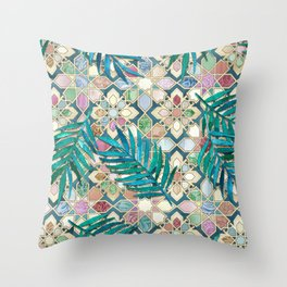 Muted Moroccan Mosaic Tiles with Palm Leaves Throw Pillow