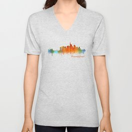 Frankfurt am Main, City Cityscape Skyline watercolor art v2 Unisex V-Neck