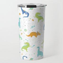 Space Dinosaurs on Orange + Blue Travel Mug