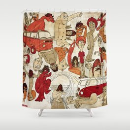 Go Longboard Vintage Shower Curtain