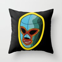 mask Throw Pillows featuring mask by mark ashkenazi