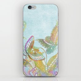 Butterflies on Turquoise Watercolor:  Rainbow butterflies, Chinese design iPhone Skin
