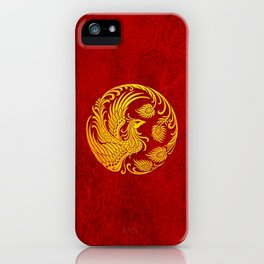 Traditional Yellow and Red Chinese Phoenix Circle iPhone Case