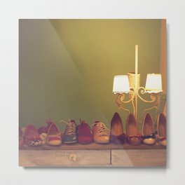 Dancing Shoes and Heels (retro and vintage girly shoes and heels with a lovely lamp) Metal Print