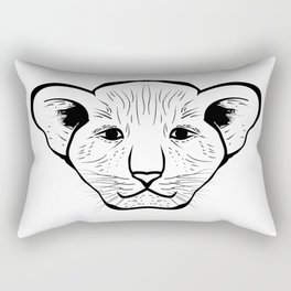 Black silhouette of a lion cub face. Lovely lion for pam, moms and toddlers, accessories. Rectangular Pillow