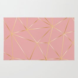Gold Pink Polygon Rug