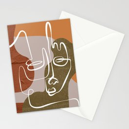 Abstract Face Line Neutral Stationery Cards