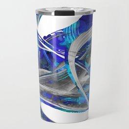 Blue White And Gray Art - Flowing 3 - Sharon Cummings Travel Mug