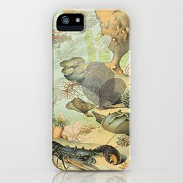 SEA CREATURES COLLAGE, OCEAN ILLUSTRATION iPhone Case