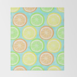 Citrus Wheels (Aqua) Throw Blanket