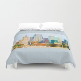 Downtown Kansas City Skyline Tilt Shift Photograph Duvet Cover