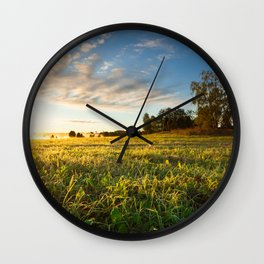 Serene landscape photo of meadow at sunrise Wall Clock