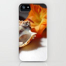 Gladiolas and sea shells iPhone Case