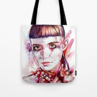 grimes Tote Bags featuring grimes by beart24