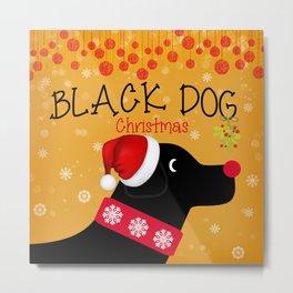 Black Dog Christmas Metal Print