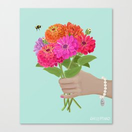 Be Kind Hand Giving Zinnia Flower Bouquet with Bumble Bee Canvas Print
