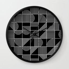 Black and White Random Tile 1 Wall Clock