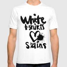 White things love stains SMALL White Mens Fitted Tee
