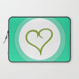 Green Heart with Love Laptop Sleeve