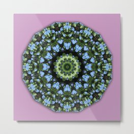 Forget-me-nots, Nature Flower Mandala, Floral mandala-style Metal Print
