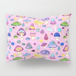 Watercolor Mushroom Pattern on Pink Pillow Sham