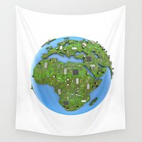 data Wall Tapestries featuring Data Earth by GrandeDuc