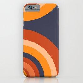 Blue Retro Circle Rainbow Pattern iPhone Case