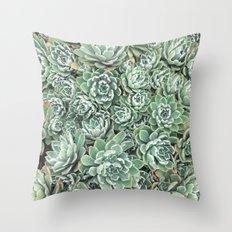 Succulent Bed Throw Pillow