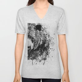 Black And White Half Faced Grizzly Bear Unisex V-Neck